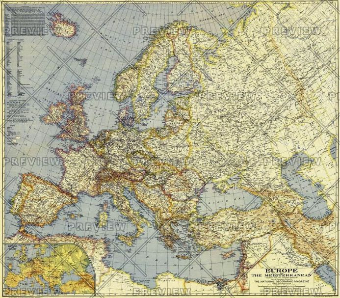 Europe and the Mediterranean - Published 1938 by National Geographic